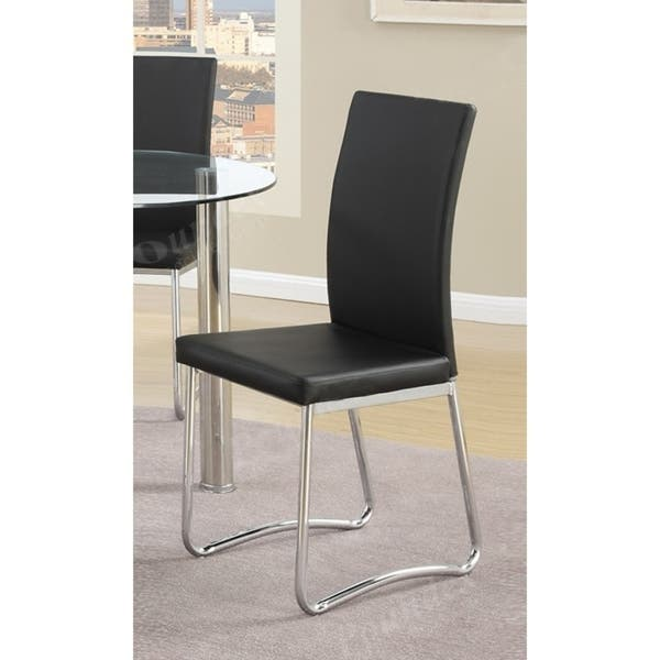 Fine Leatherette Upholstered Padded Dining Chair With Tubular Metal Legs Set Of Two Black And Silver Unemploymentrelief Wooden Chair Designs For Living Room Unemploymentrelieforg