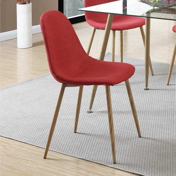 Metal Frame Dining Chair With Petal Like Seats Set Of 4 Red And Brown