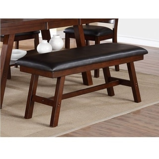 Rubber Wood Bench With Faux Leather Upholstery Large Brown