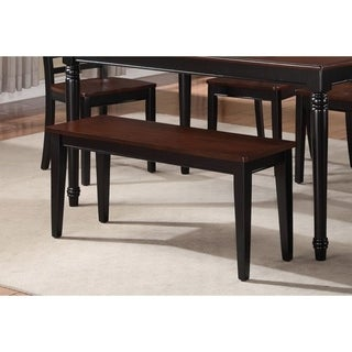 Spacious Two Tone Wooden Bench Black and Brown