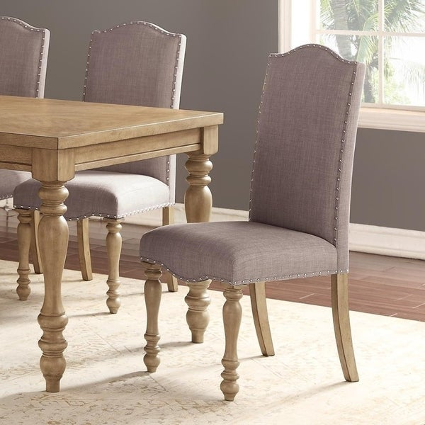 Rubber Wood Dining Chair With Nail Trim Design Set Of 2 Gray And Brown