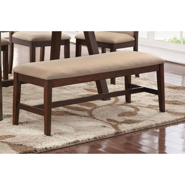 Rubber Wood Bench with Tapered Legs Brown and Beige. Opens flyout.