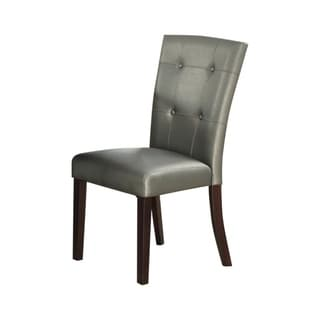 Button Tufted Faux Leather Wooden Dining Chair, Set Of 2,Silver