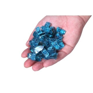Century Modern Outdoor Fire Glass For Fire Pit,Reflective Tempered Fire Pit Glass -10 Pound Aque Blue