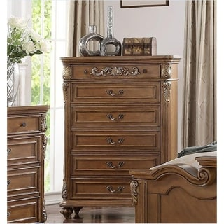 Royal Pine Wood Chest With filigree Carvings Brown