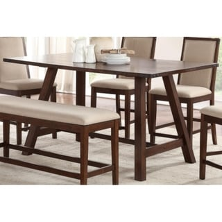Rectangular Rubber Wood Counter Height Table with Angled legs Brown
