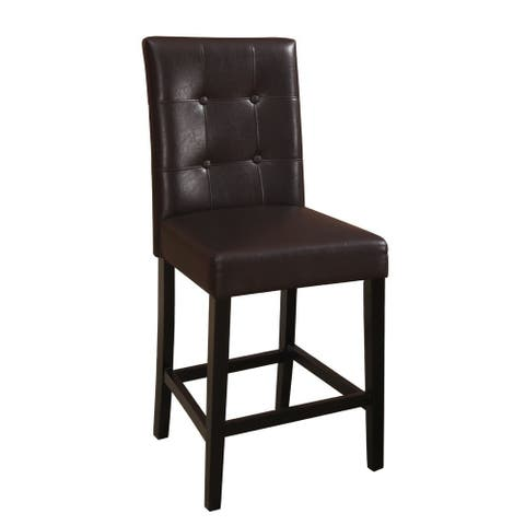 Wooden height chair with Button Tufted Back Set of 2 Brown