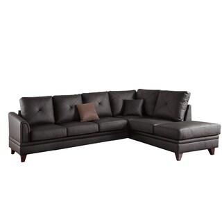 Debonair Addition Genuine Leather & Pine Wood 2-PCS Sectional, Brown