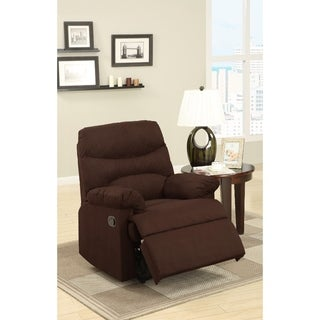 Plush Microfiber Recliner With Cushioned Seat Brown