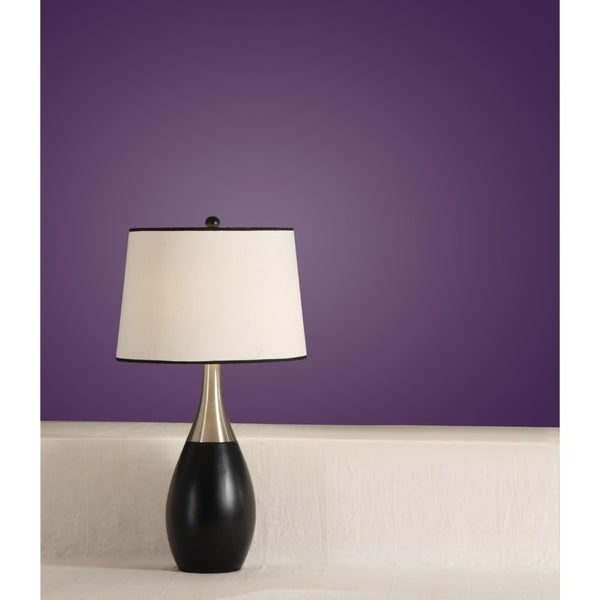 Bellied Table Lamp With Contrasting Shade Set Of 2 Black