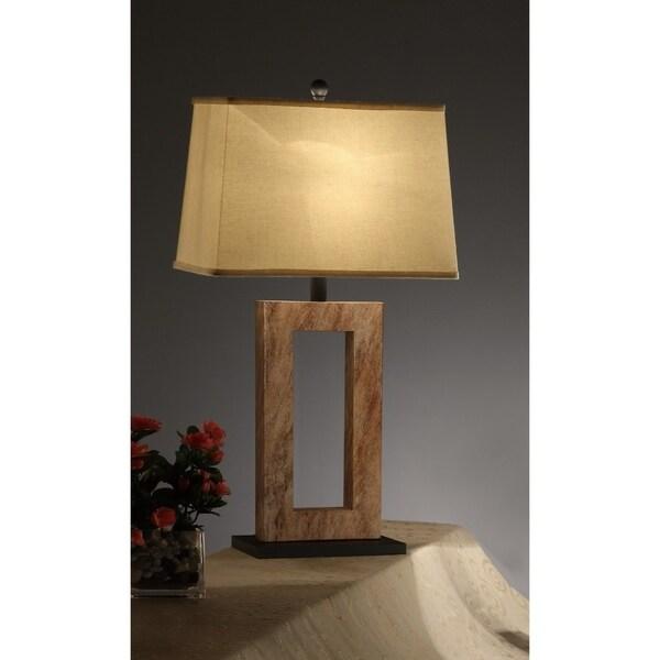 Polyresin Fabric Shade Lamp Tan Brown Set Of 2