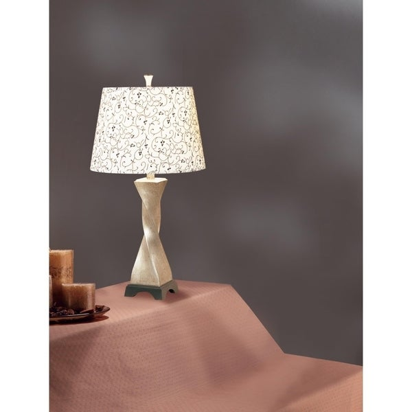 Polytresin Table Lamp With Floral Print Shade Set Of 2 Cream