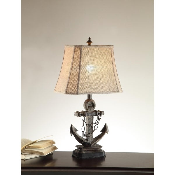 Nautical Polyresin Table Lamp With Anchor Base Set Of 2 Gray
