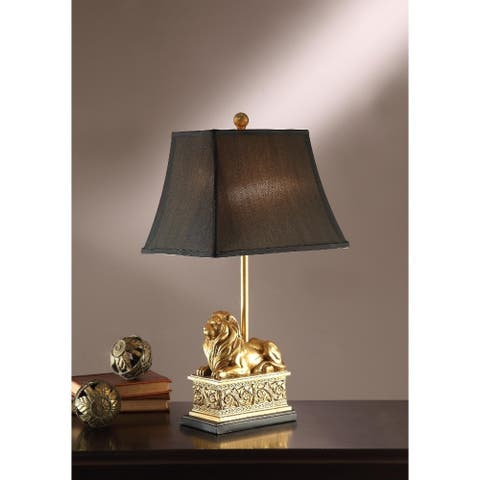 Polyresin Table Lamp With Royal Lion Base Set Of 2 Gold
