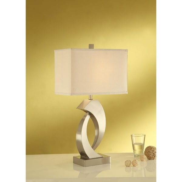 Metal Base Table Lamp With Cubical Shade Set Of 2 Beige