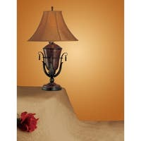 Polyresin Table Lamp With Bell Shaped Base Set Of 2 Brown