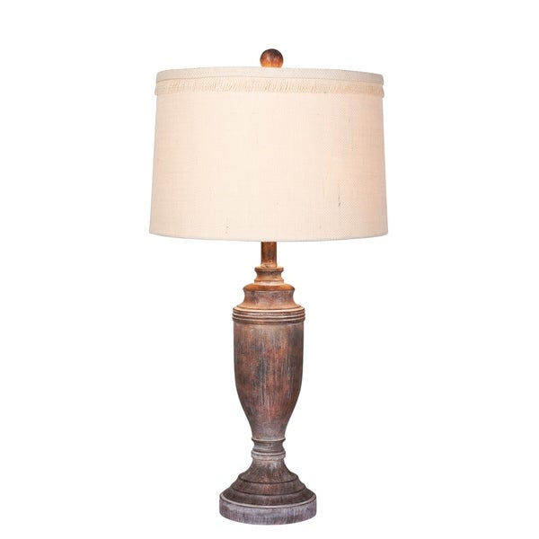 Fangio Lighting's #6246CABR 29.5 in. Distressed Formal Urn Resin Table Lamp in Cottage Antique Brown