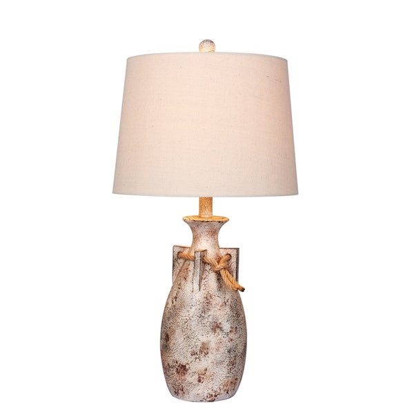 Fangio Lighting's #6250AWH 27.5 in. Distressed Jug w/Rope Collar Resin Table Lamp in Antique White
