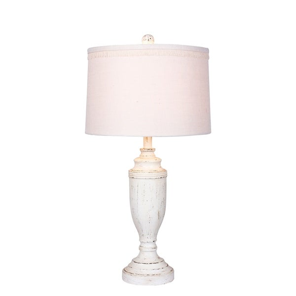 Fangio Lighting's #6246CAW 29.5 in. Distressed Formal Urn Resin Table Lamp in Cottage Antique White