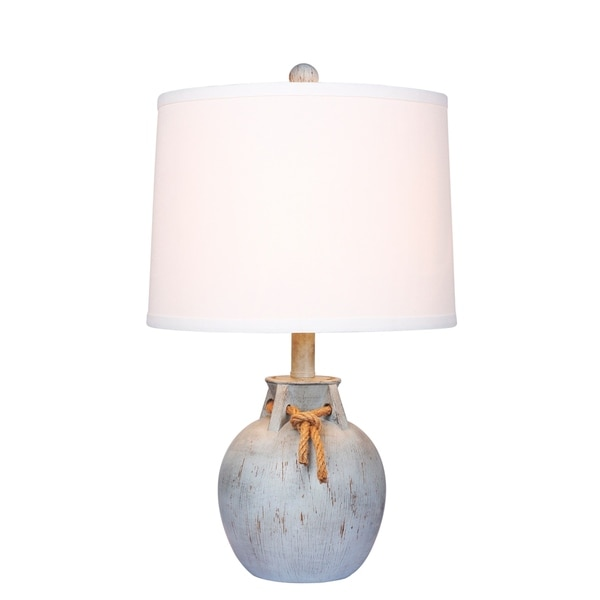 Fangio Lighting's #6249ABL 22 in. Distressed Jug w/Rope Collar Resin Table Lamp in Antique Blue