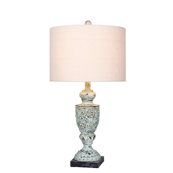 Fangio Lighting's #6248BLU 26.5 in. Decorative Urn Resin Table Lamp in Antique Blue