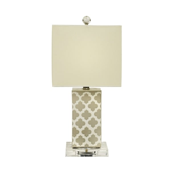 Fangio Lighting's #8857MT 20 in. Moroccan Trellis Coventry Crackle Ceramic & Clear Acrylic Table Lamp