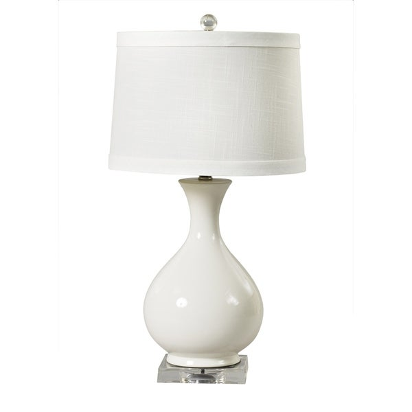 Fangio Lighting's #8728WHT 25 in. Smooth Vase White Ceramic & Clear Acrylic Table Lamp