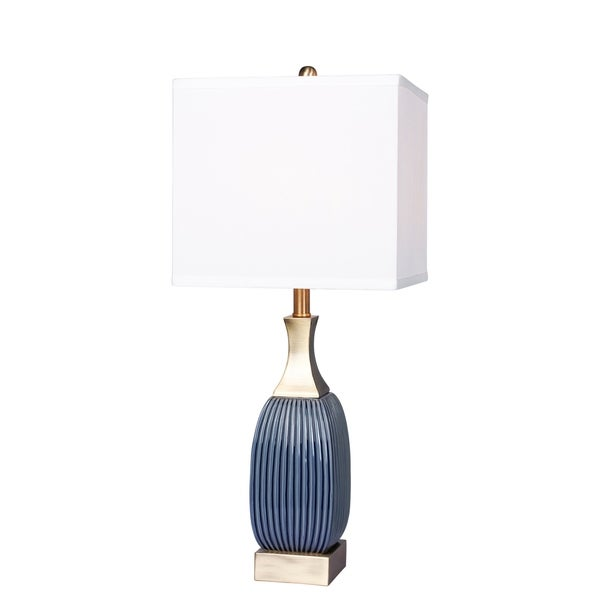 Fangio Lighting's #8987BAB 26.5 in. Vertically Ribbed Blue Ceramic & Antique Brass Table Lamp