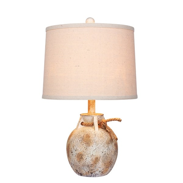 Fangio Lighting's #6249AWH 22 in. Distressed Jug w/Rope Collar Resin Table Lamp in Antique White