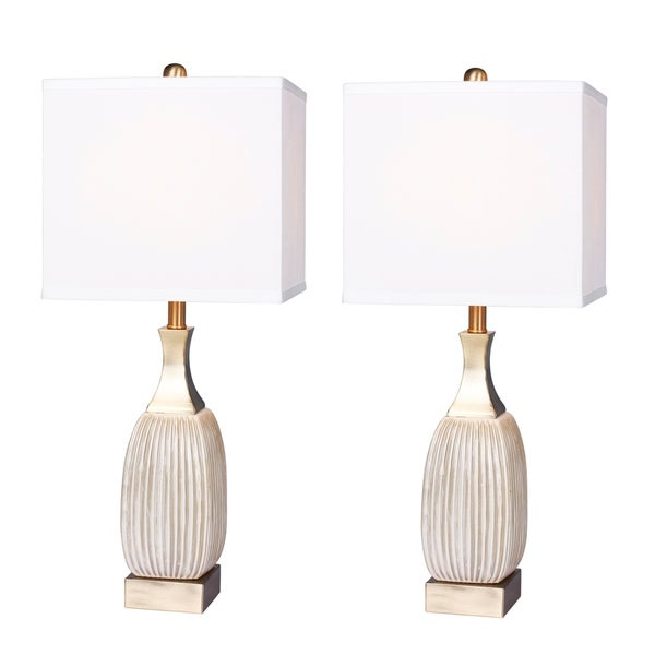 2 luxury lamps! Fangio Lighting's #8987WAB-2PK 26.5 in. Vertically Ribbed Aged White Ceramic & Antique Brass Table Lamps