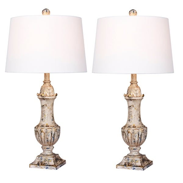 2 luxury lamps! Fangio Lighting's #6245AI-2PK 29.5 in. Distressed Decorative Urn Resin Tables Lamp in Antique Ivory