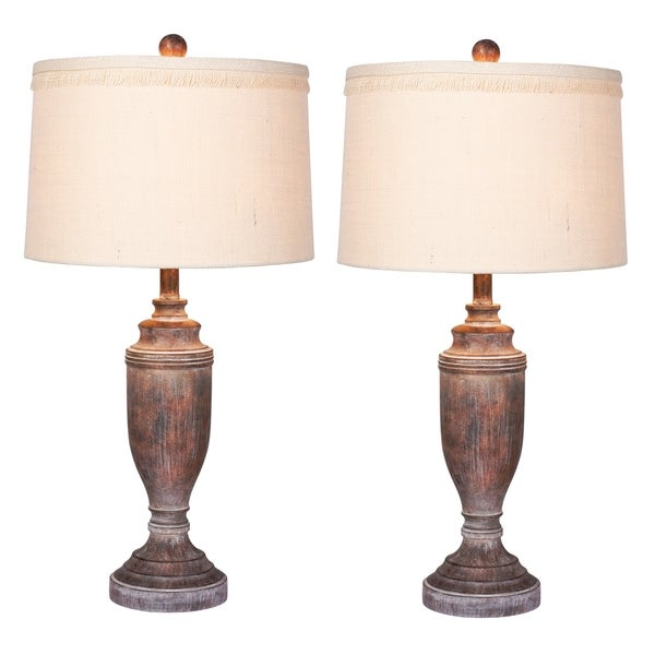 2 luxury lamps! Fangio Lighting's #6246CABR-2PK 29.5 in. Distressed Formal Urn Resin Table Lamps in Cottage Antique Brown