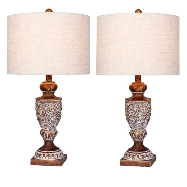 2 luxury lamps! Fangio Lighting's #6248BRN-2PK 26.5 in. Distressed, Decorative Urn Resin Table Lamps in Antique Brown