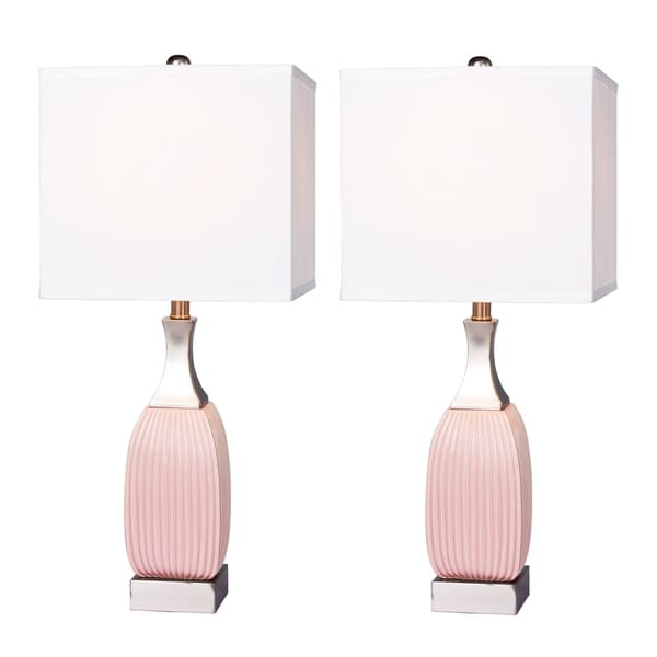 "Fangio Lighting's 8987PN-2PK 26.5"" Blush/Nickel Lamp Pair"