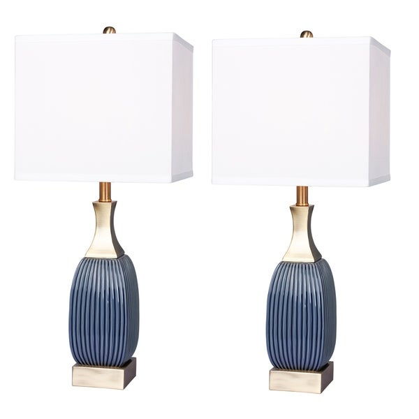 2 luxury lamps! Fangio Lighting's #8987BAB-2PK 26.5 in. Vertically Ribbed Blue Ceramic & Antique Brass Table Lamps