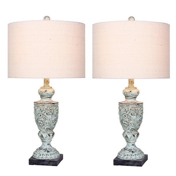 2 luxury lamps! Fangio Lighting's #6248BLU-2PK 26.5 in. Decorative Urn Resin Table Lamps in Antique Blue