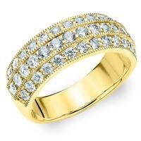 Amore 10K Yellow Gold 1.0 CT TDW Three Row Diamond Ring