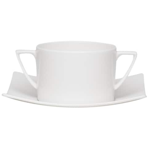Red Vanilla Extreme White Cream Soup Cup / Saucer Set/4