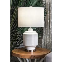 Watch Hill 24'' Bianca Ceramic & Metal Linen Shade Table Lamp