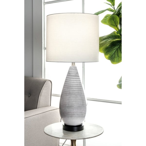 "Watch Hill 27'' Whitney Glass & Metal Linen Shade Table Lamp - 27"" h x 13"" w x 13"" d"
