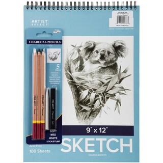 "Artist Select Sketch Pad 9""X12"" & 5pc Charcoal Pencil Set"