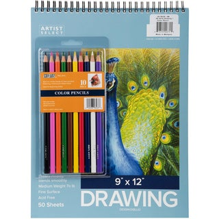 "Artist Select Drawing Pad 9""X12"" & 10pc Color Pencil Set"