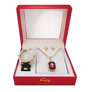 Hip Hop Ruby Red Gem and Cross Watch with Jewelry Gift Set. Includes Iced Out Ruby Pendant Matching Iced Out Earrings and Watch