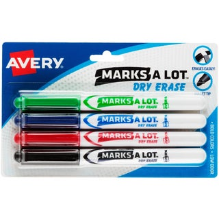 Avery Marks-A-Lot Pen-Style Dry Erase Markers 4/Pkg
