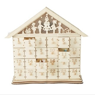 Mind Reader Festive Advent Calendar 24 Compartment Wood Storage Compartments Organizer, White