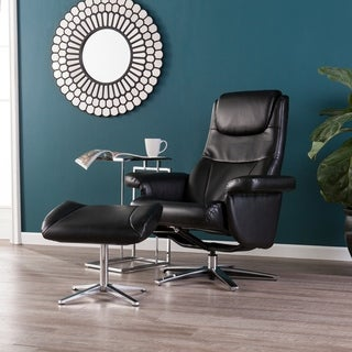 Bracklin Black Reclining Chair and Ottoman
