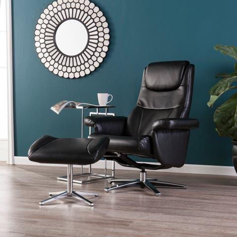 Harper Blvd Bracklin Black Reclining Chair and Ottoman