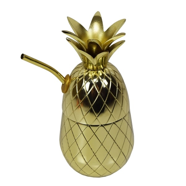 Brass Gold Pineapple Tumbler Shaker Mug with Straw and Rubber Seal. Opens flyout.