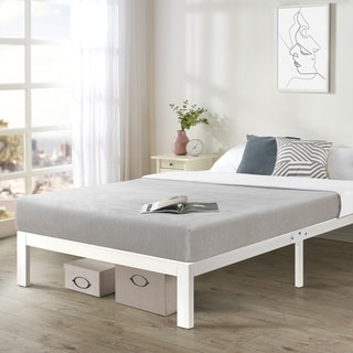 Twin XL Size Heavy Duty Bed Frame Steel Slat Platform Series Titan E, White - Crown Comfort