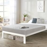 Twin XL size Bed Frame Heavy Duty Steel Slats Platform Series Titan C - White